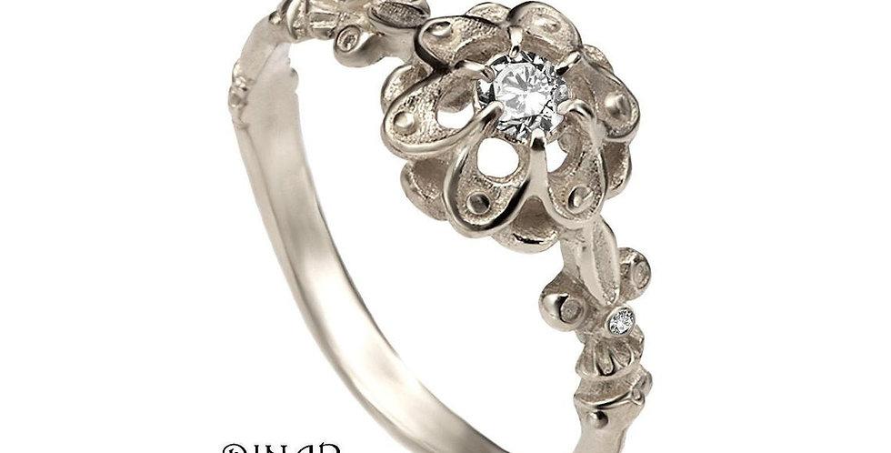 טבעת אירוסין זהב לבן יהלום הצאר