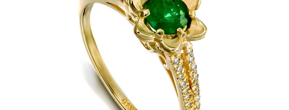 טבעת שיבוצי יהלומים ופרח אמרלד זהב צהוב