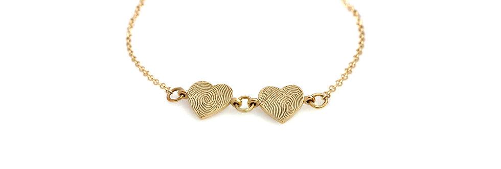 שרשרת 2 לבבות טביעת אצבע זהב 14 קראט