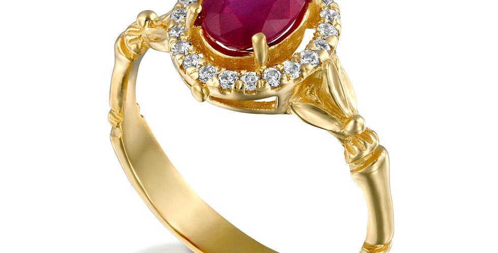 טבעת 'אודם החן' רובי ויהלומים זהב 14 קראט