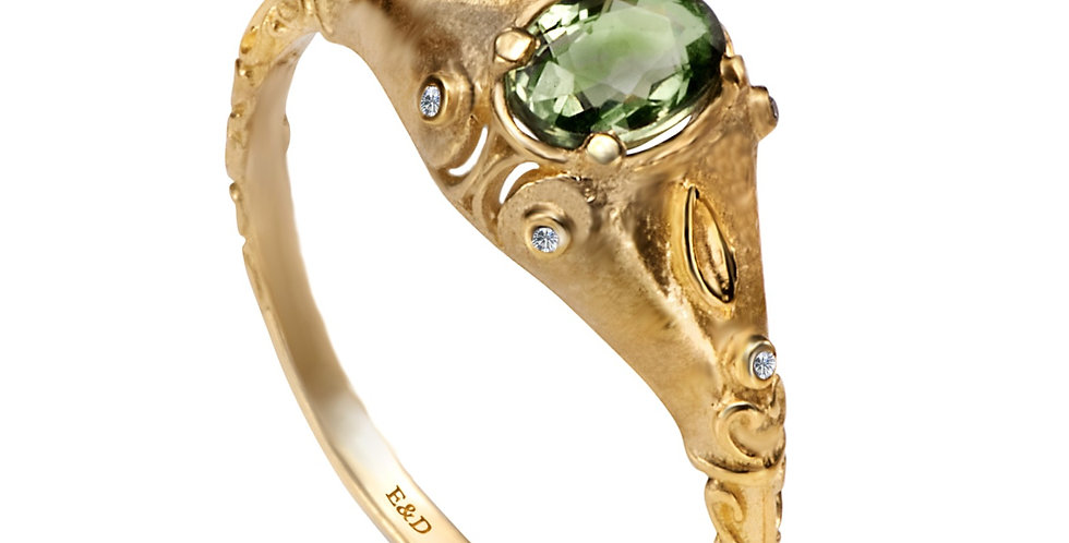 טבעת אירוסין ספיר ירוקה