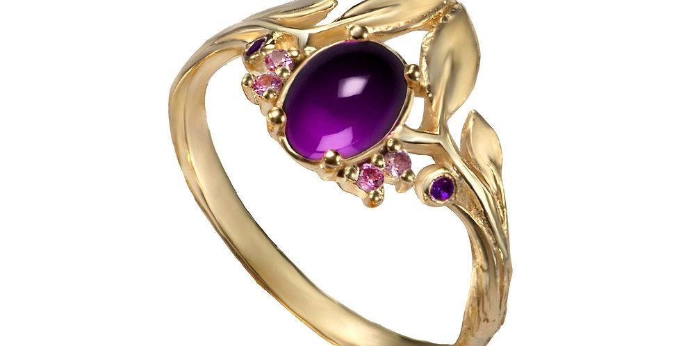 טבעת 'אמטיסט סיישל' זהב 14 קראט