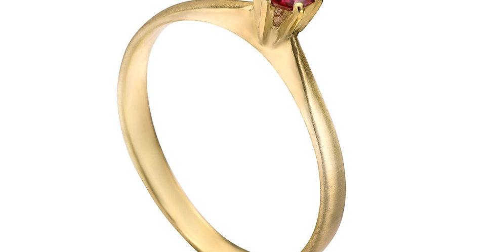 טבעת אירוסין סוליטר רובי