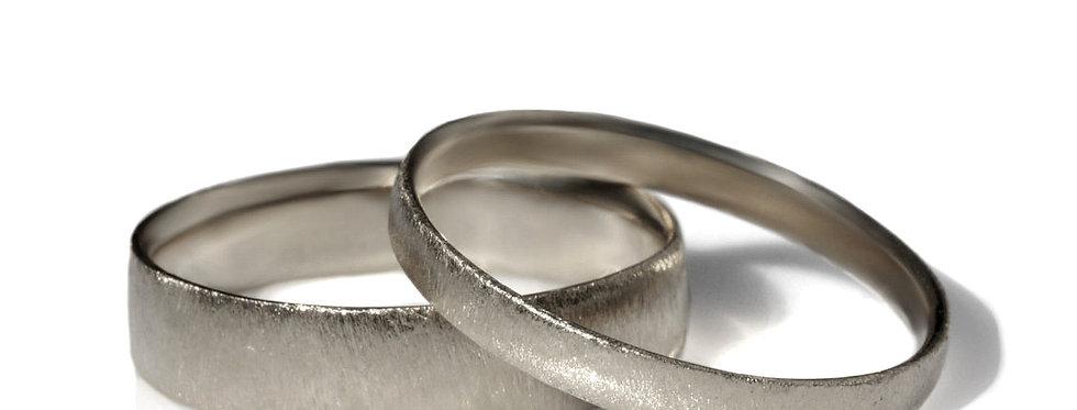 סט טבעות נישואין זהב לבן מוברש