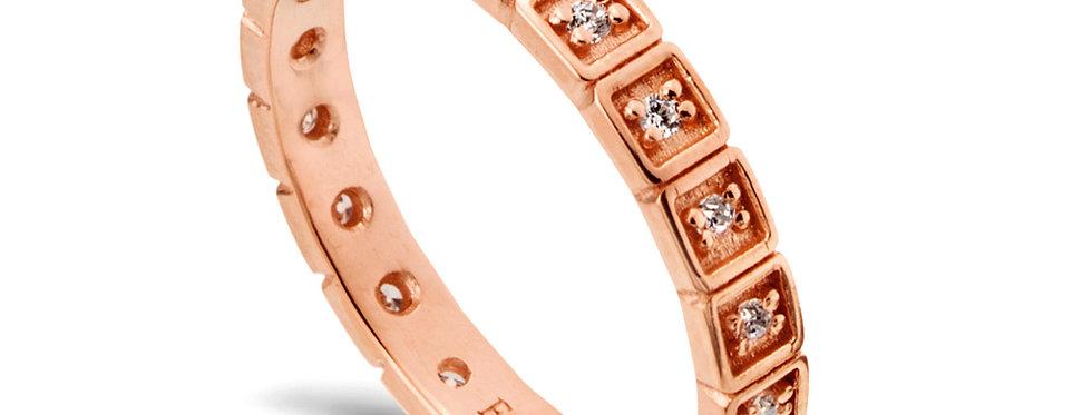 טבעת זהב אדום נצח ריבועי יהלומים
