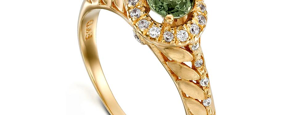 טבעת עלים ספיר ירוק והילת יהלומים