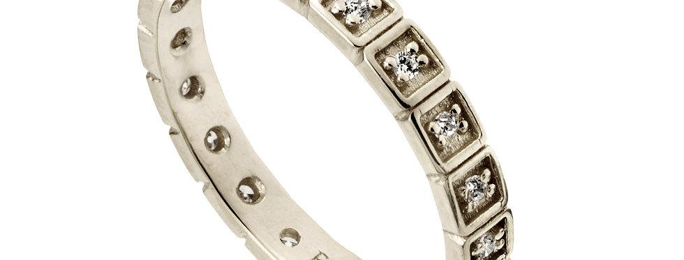 טבעת זהב לבן נצח ריבועי יהלומים
