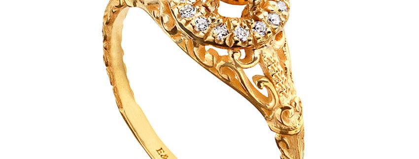 טבעת אירוסין הילת יהלומים וציטרין מרכזית