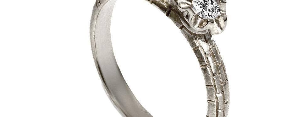 טבעת אירוסין יהלום סוליטר זהב לבן אבן ירושלמית
