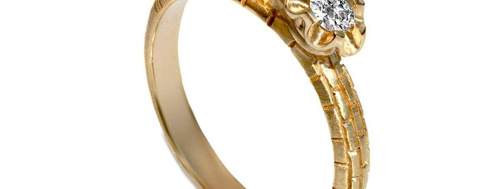 טבעת אירוסין יהלום סוליטר אבן ירושלמית