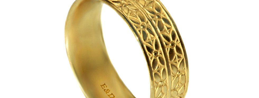 טבעת נישואים חריטות פסי עלים