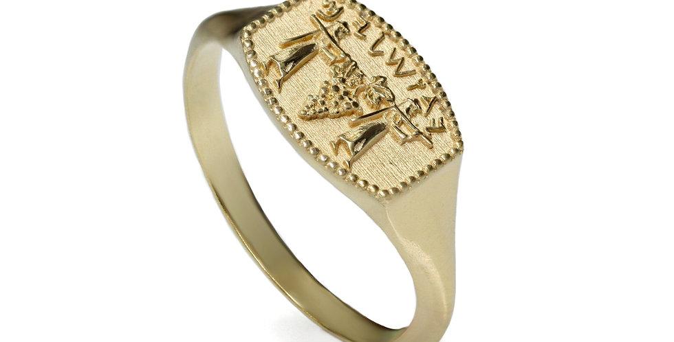 טבעת חותם ירושלים כתב עברי קדום זהב 18 קראט