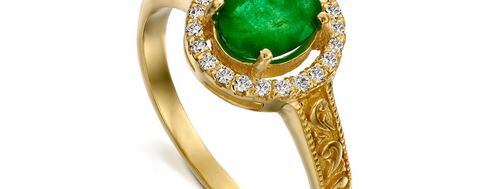 טבעת אמרלד אליפטית והילת יהלומים