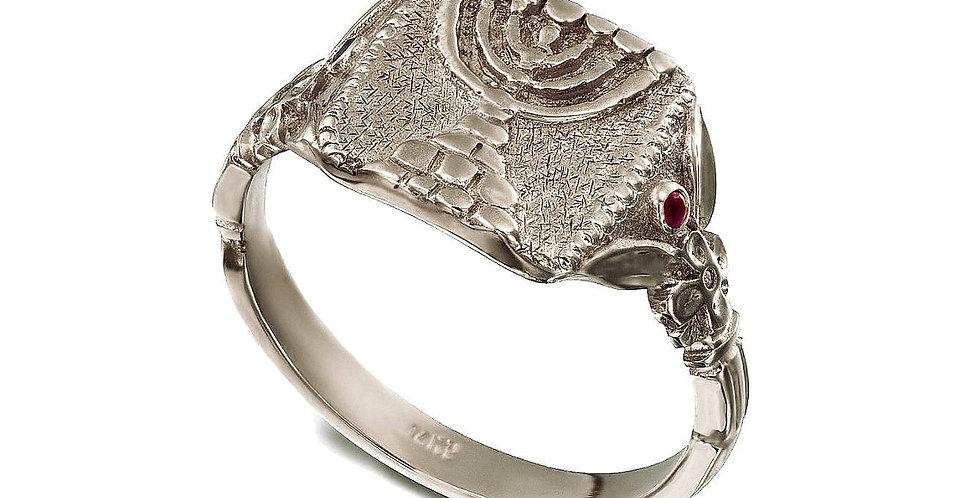 טבעת חותם המנורה העתיקה זהב 14 קראט