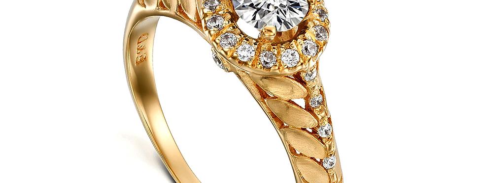 טבעת עלים הילת יהלומים
