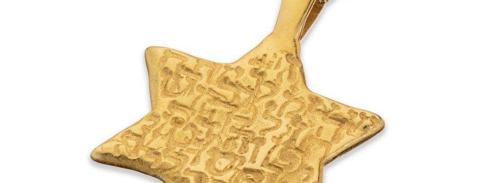 תליון זהב מגן דוד אותיות