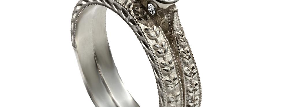 סט לכלה עיטורי עלים טבעת אירוסין אגם זהב לבן