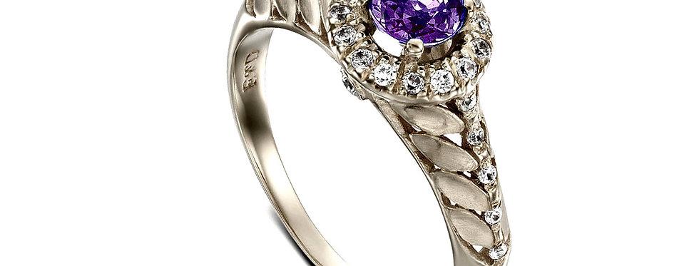 טבעת אמטיסט והילת יהלומים זהב לבן