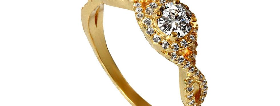 טבעת אירוסין טוויסט יהלומים