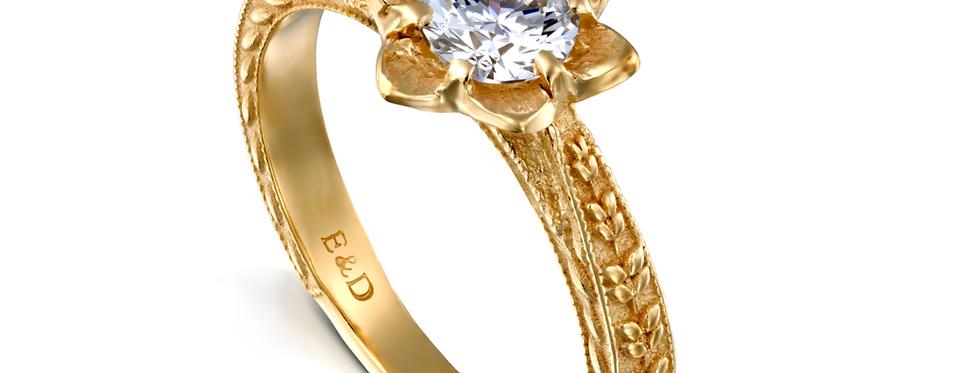 טבעת אירוסין פרח פתוח ועלים נצמדים