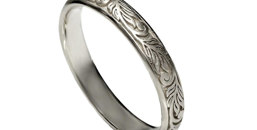 טבעת זר עלים - זהב לבן 14 קראט