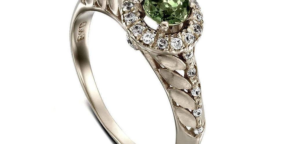 טבעת עלים ספיר ירוק זהב לבן והילת יהלומים