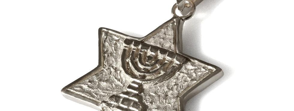 תליון כסף מגן דוד מנורת המקדש