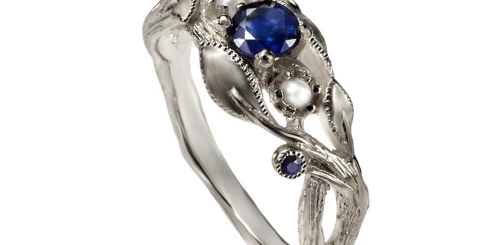 טבעת אירוסין זהב לבן 14 קראט היער הכחול