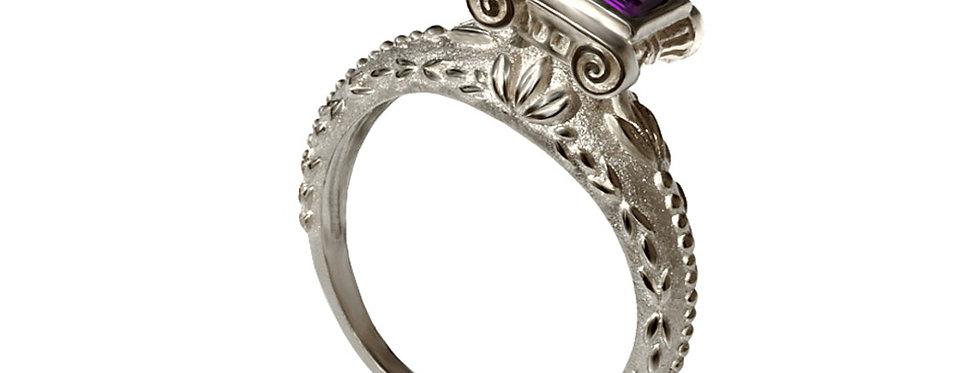 טבעת ממלכת יהודה זהב לבן ואמטיסט
