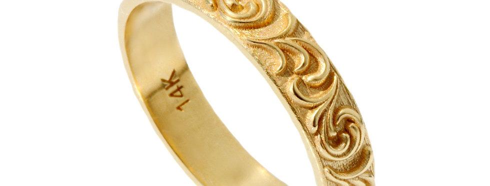 """טבעת נישואין פיתולי עלים 4מ""""מ"""