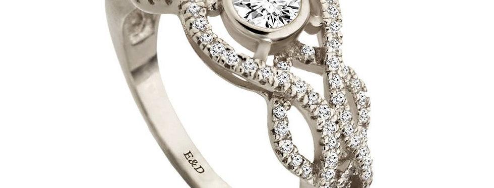 טבעת אירוסין יהלומים זהב לבן קשר האינסוף