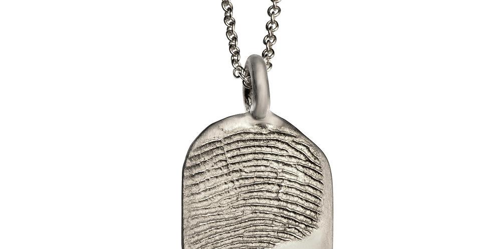 תליון טביעת אצבע מלבני בינוני- זהב לבן 14 קראט