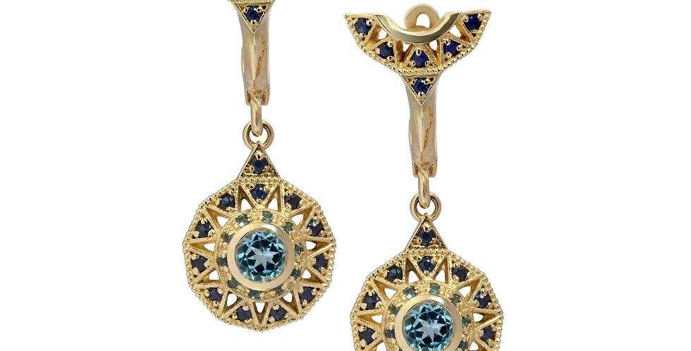 עגילי הכתר הצפוני זהב 14 קראט ואבני חן כחולות