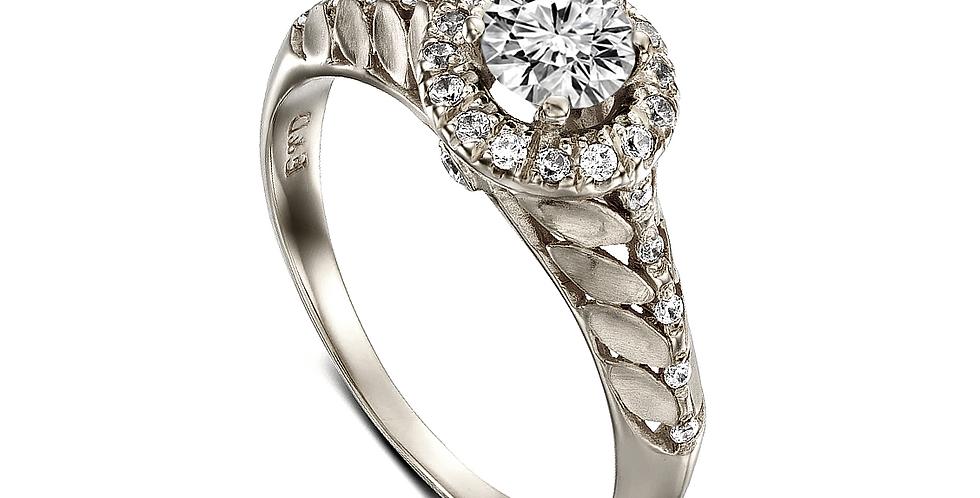טבעת עלים זהב לבן הילת יהלומים