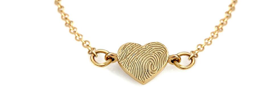 שרשרת לב טביעת אצבע זהב 14 קראט