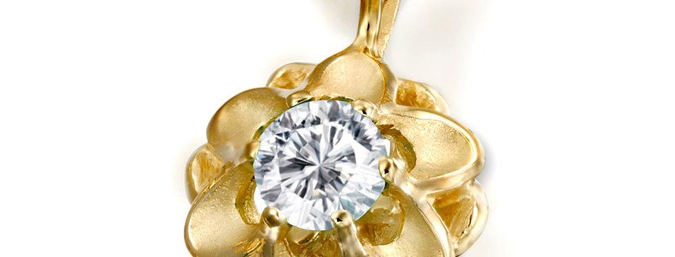 תליון זהב פרח משובץ יהלום