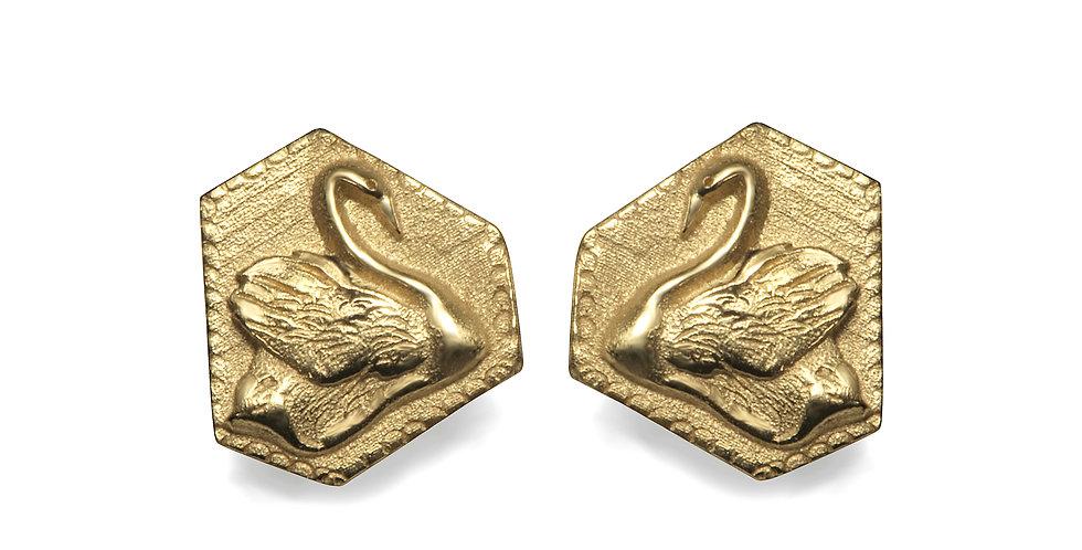 עגילי ברבור מצופים זהב