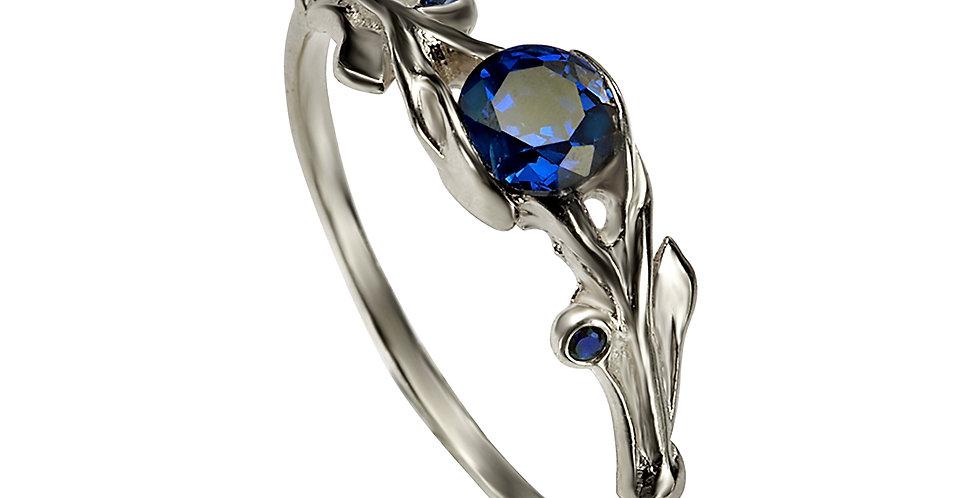 טבעת אירוסין זהב לבן מרגנית ספיר כחול
