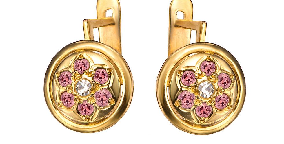 עגילי יהלום ואבני חן ורודות זהב 14 קראט