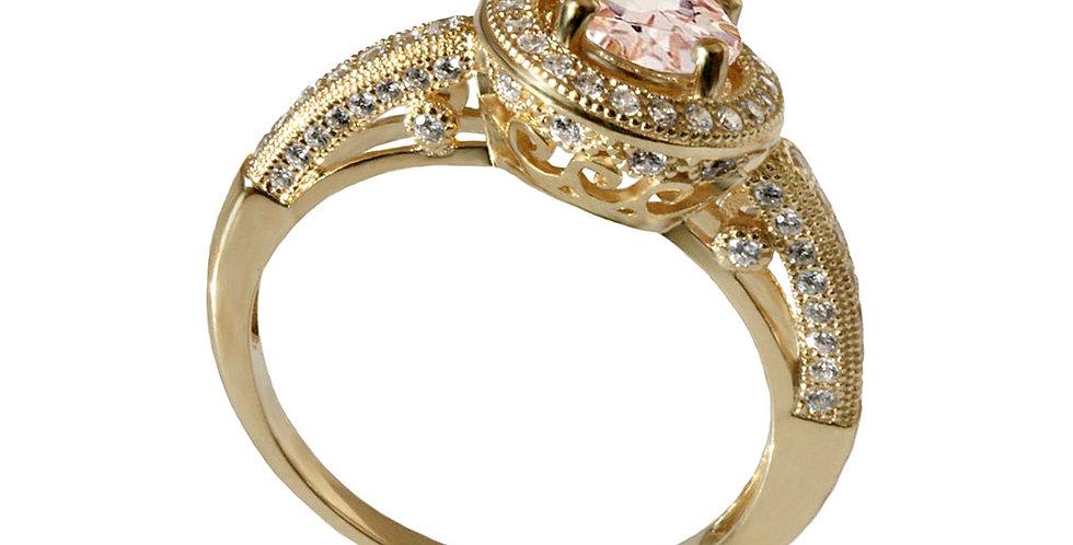 טבעת כתר הלני מורגנייט ויהלומים