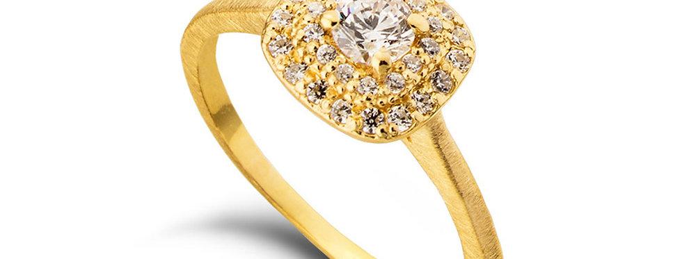 טבעת אירוסין זהב צהוב הילת יהלומים מדורגת