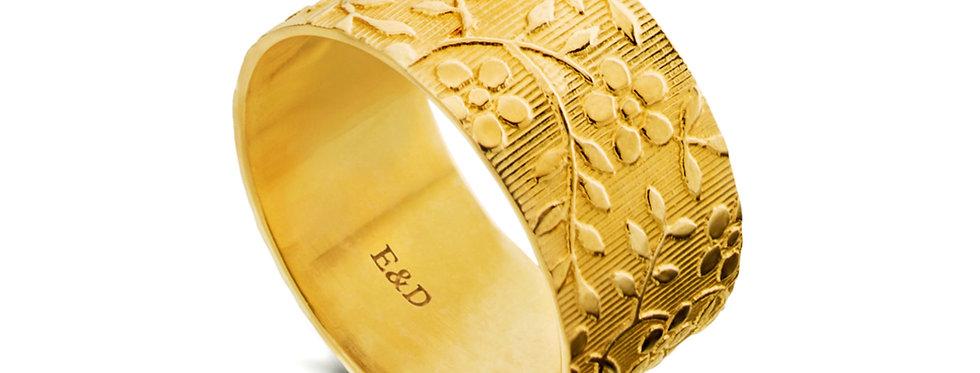 טבעת נישואין רחבה לאישה פרח הנורית