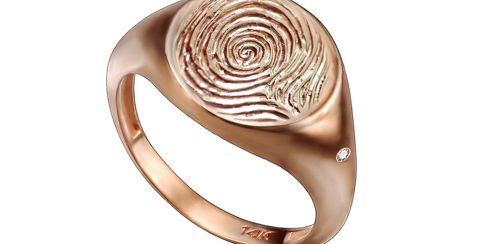 טבעת חותם ויהלומים קטנים טביעת אצבע זהב 14 קראט