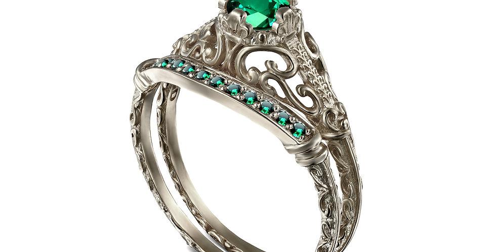 סט לכלה טבעת אירוסין ויקטוריה אמרלד חצי קראט וטבעת ברקת תואמת