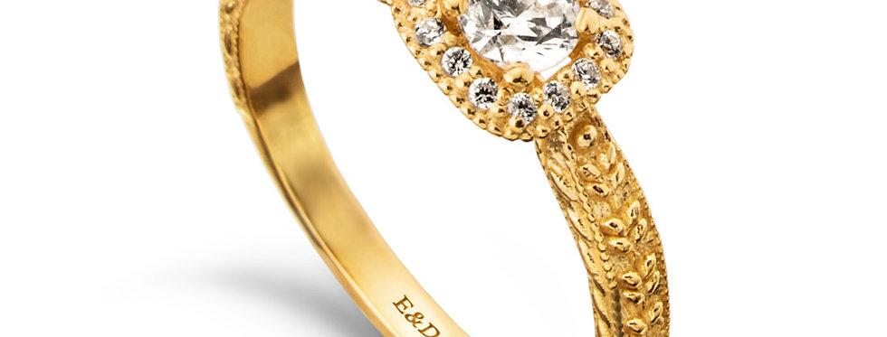 אירוסין הילה מרובעת צמדי עלים זהב צהוב