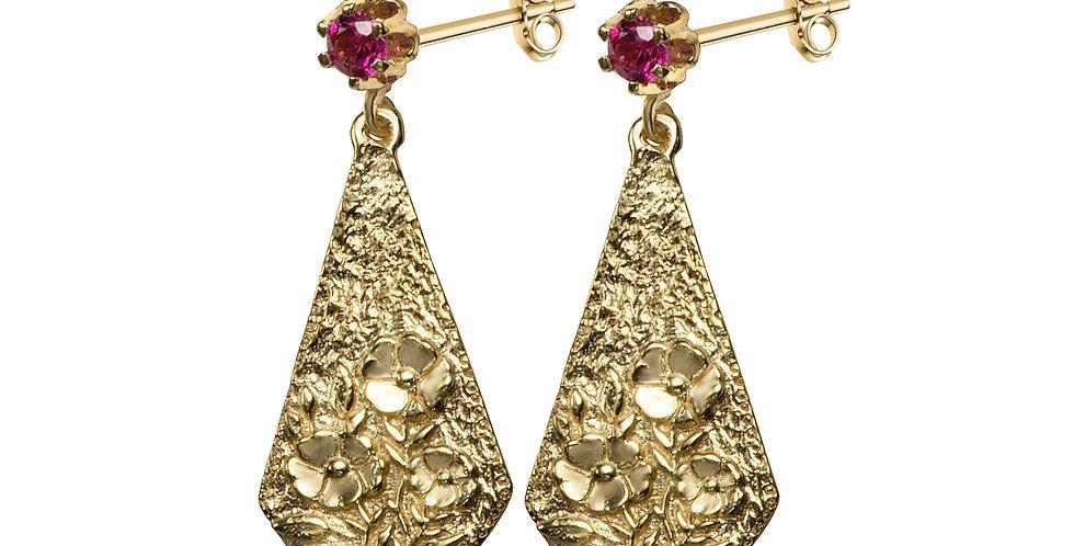 סצינה פרחונית עגילי זהב 14 קראט ואבני רובי