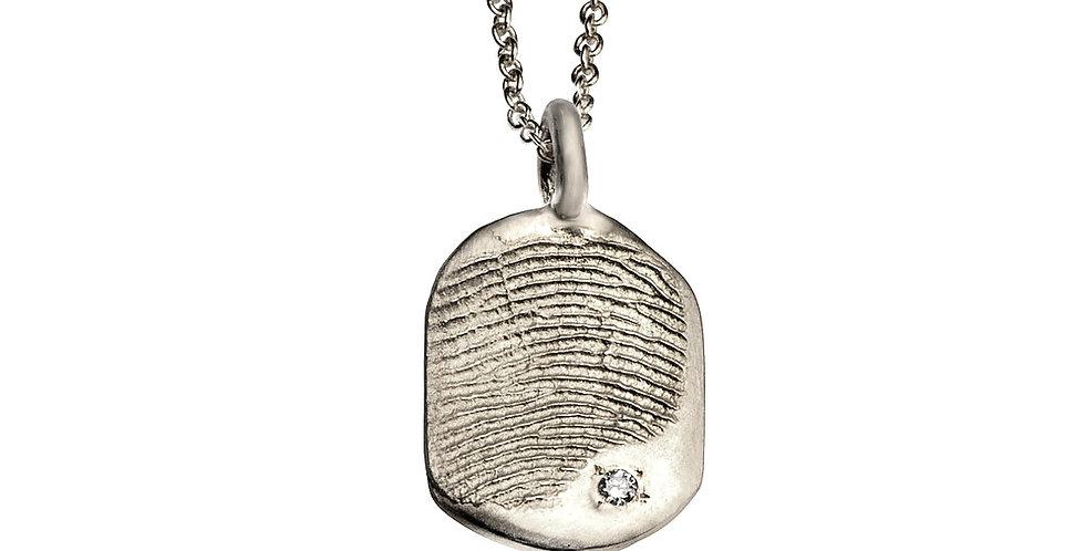 תליון מלבני טביעת אצבע - זהב לבן 14 קראט גודל בינוני