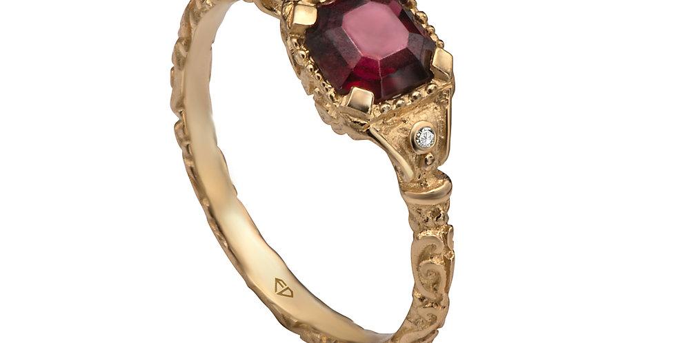 טבעת זהב גרנט עתיקה