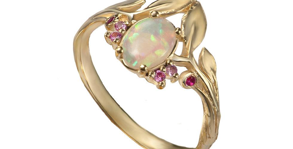 טבעת סיישל עלים נושקים זהב 14 קראט אופל מרכזית