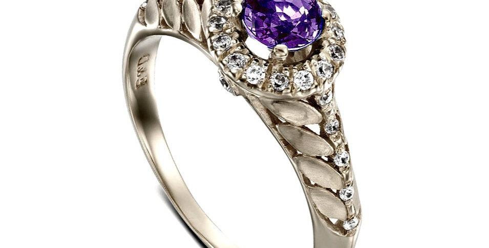 טבעת אמטיסט סגולה ויהלומים